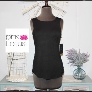 NWT Pink Lotus Black open Back Top XS